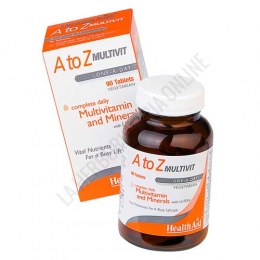 Multi A-Z Multivitamínico y Minerales Health Aid 90 comprimidos - A to Z Multivit de Health Aid es una de las mejores opciones del mercado de suplementos vitamínico y minerales. Completo y equilibrado, contribuye al bienestar diario durante 3 meses con 1 sólo bote.