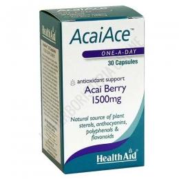 AcaiAce bayas de Açai Health Aid 30 cápsulas - AcaiAce de Health Aid es una fuente natural rica en antocianinas, aminoácidos esenciales, flavonoides, polifenoles, esteroles vegetales, vitaminas y minerales, con propiedades antioxidantes.