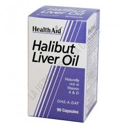 Aceite de hígado de halibut Health Aid 90 cápsulas - Halibut Liver Oil de Health Aid constituye una fuente natural de vitaminas A y D, procedentes del aceite de pescado.