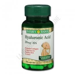 Ácido Hialurónico Natures Bounty 30 cápsulas - El Ácido Hialurónico es un componente natural que se localiza en el tejido conectivo del organismo. Tomar a diario Hyaluronic Acid de Natures Bounty, contribuye a la salud de la piel y articulaciones. PRODUCTO DESCATALOGADO  POR EL LABORATORIO FABRICANTE. Como alternativa sí disponible le recomendamos:  Ácido Hialurónico 20 mg. con Vitamina C Natures Bounty 30 cápsulas  -Pulse aquí para ver el producto.