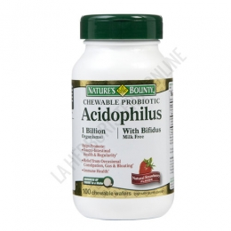 Acidófilos con Bífidus Natures Bounty masticables 100 comprimidos - Acidophilus con Bífidus sabor fresa natural, aporta 1000 millones de microorganismos probióticos que refuerzan el sistema digestivo favoreciendo la absorción de nutrientes. PRODUCTO DESCATALOGADO  POR EL LABORATORIO FABRICANTE. Como alternativa sí disponible le recomendamos:  Acidophilus sabor fresa Natures Bounty 60 comprimidos masticables -Pulse aquí para ver el producto.