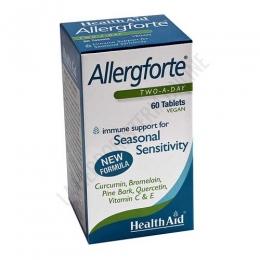 Allergforte Health Aid 60 comprimidos - Allergforte de Health Aid es una combinación de vitaminas, minerales y otros nutrientes que ayuda a reducir los síntomas de la alergia estacional.