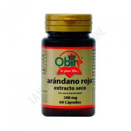 Arandano Rojo extracto seco 200 mg. Obire 60 cápsulas - El Extracto de Arándano Rojo de Obire contiene 200 mg. de arándando rojo con una concentración 25:1, equivalente a 5000 mg. de arándano rojo en polvo. Este complemento se utiliza para ayudar a mantener unas vías urinarias saludables.