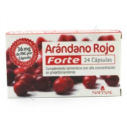 Arándano Rojo Forte 36 mg. PAC Natysal 24 cápsulas - Arándano Rojo Forte de Natysal contiene 36 mg. de PAC en 1 sóla toma al día, cantidad diaria específica para conseguir una protección estable de las vías urinarias.   PRODUCTO DESCATALOGADO POR EL LABORATORIO FABRICANTE.