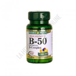 Alta Potencia Vitamina B-50 Natures Bounty 50 comprimidos - Fórmula que contiene vitaminas del grupo B, que participan en numerosas funciones metabólicas esenciales para mantener la salud y energía del organismo. PRODUCTO DESCATALOGADO  POR EL LABORATORIO FABRICANTE. Como alternativa sí disponible le recomendamos:  B-Complex Natures Bounty 100 comprimidos  -Pulse aquí para ver el producto.
