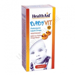BabyVit multivitamínico infantil Health Aid gotas 25 ml. - BabyVit de Health Aid es una fórmula específica sabor naranja para bebés y niños de hasta 4 años que contribuye a proporcionarles las vitaminas diarias que necesitan para mantener un buen estado de salud general.