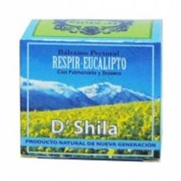Bálsamo Pectoral Respir Eucalipto DShila 50 ml. - El Bálsamo Pectoral Respir Eucalipto de dShila es un producto natural de nueva generación para utilizar en la zona pectoral y ayudar a calmar y relajar la zona gracias a su efecto balsámico y emoliente.