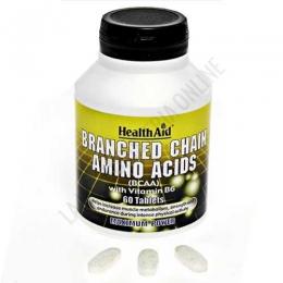 BCAA Aminoácidos ramificados Health Aid 60 comprimidos - Branched Chain Amino Acids de Health Aid contiene L-Leucina, L-Valina y L-Isoleucina (aminoácidos ramificados) complementados con la vitamina B6 para maximizar su absorción.