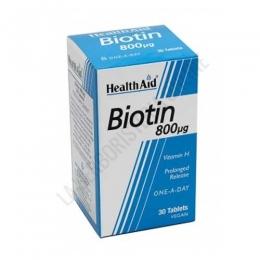 Biotina Health Aid 30 comprimidos - Biotin 800µg de Health Aid es una forma completa y eficaz de aportar biotina al organismo con sólo 1 comprimido al día de liberación prolongada.