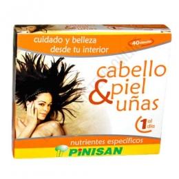 Cabello Piel y Uñas Pinisan 40 cápsulas - Cabello, Piel y Uñas de Pinisan contiene una mezcla de Aminoácidos, Levadura de Cerveza, Minerales y Vitaminas especialmente formulada para ayudar a restablecer la belleza y salud del cabello.