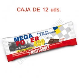 Caja 12 barritas Mega Power 400 Kcal. Nutrisport sabor chocolate 85 gr.