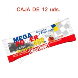 Caja de 12 barritas Mega Power 400 Kcal. Nutrisport sabor yogur melocotón 85 gr.