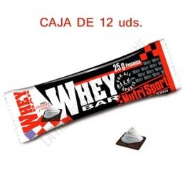 Caja 12 uds. barritas Whey Bar Nutrisport sabor chocolate nata 80 gr. - Las barritas Whey Bar de Nutrisport constituyen una fuenta rica en proteínas de suero lácteo del más alto valor biológico y fácil absorción, aportado 25 gr. de proteínas por barrita.