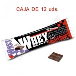 Caja 12 uds. barritas Whey Bar Nutrisport sabor chocolate 80 gr. - Las barritas Whey Bar de Nutrisport constituyen una fuenta rica en proteínas de suero lácteo del más alto valor biológico y fácil absorción, aportado 25 gr. de proteínas por barrita.
