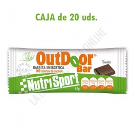 Caja 20 barritas Outdoor Bar energéticas sin cobertura de chocolate Nutrisport sabor chocolate