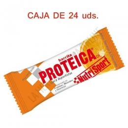 Caja 24 barritas Proteicas Nutrisport sabor naranja y chocolate 46 gr. -