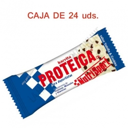Caja 24 Barritas Proteicas Nutrisport sabor vainilla cookies 46 gr. -