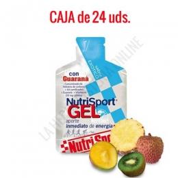 Gel con Guaraná Nutrisport sabor exótico caja de 24 uds. - Nutrisport Gel con Guaraná asegura un aporte de energía inmediato y prolongado gracias a su mecanismo de absorción sostenida y a la combinación en su fórmula de hidratos de carbono de cadena larga y corta. Además es de acción estimulante (contiene cafeína).