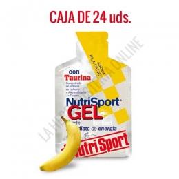 Gel con taurina Nutrisport sabor plátano caja de 24 uds.