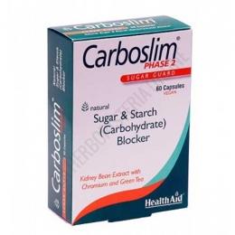 Carboslim Phase 2 Health Aid comprimidos - Carboslim Phase 2 de Health Aid es una ayuda específica que contribuye a inhibir la absorción de los hidratos de carbono en la sangre, obstruyendo la descomposición de los almidones ingeridos en glucosa.