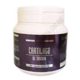 Cartílago de Tiburón 870 mg. Sotya 300 cápsulas - El Cartílago de Tiburón de Sotya aporta 750 mg. de cartílago liofilizado, rico en macro proteínas, calcio y colágeno, en un evase ahorro de 300 cápsulas.