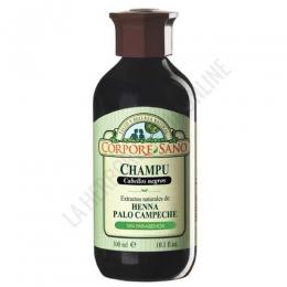 Champú a la Henna Palo Campeche cabellos negros Corpore Sano 300 ml. -