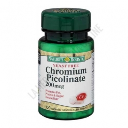 Picolinato de Cromo Natures Bounty 100 comprimidos - Chromium Picolinate es un mineral esencial que contribuye a mantener unos niveles adecuado de azúcar en sangre.PRODUCTO DESCATALOGADO POR EL LABORATORIO FABRICANTE. Como alternativa similar sí disponible le recomendamos: Cromo Picolinato GoodN Natural -Pulse aquí para ver el producto.
