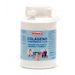 Colageno comprimidos Plus sabor vainilla Integralia 120 comprimidos - De agradable sabor a vainilla, el Colágeno Hidrolizado Comprimidos Plus de Integralia aporta, además de 3,7 gr. de colágeno por 4 comprimidos, Magnesio, Ácido Hialurónico y Resveratrol. A destacar: Edulcorado con stevia, de agradable sabor a vainilla y cómoda toma (comprimidos masticables). Envase para 30 días de toma.