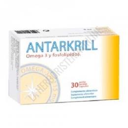 Antarkrill Aceite de Krill 500 mg. Bioserum 30 perlas - Antarkrill de Bioserum es un complemento alimenticio a base de aceite de krill de alta biodisponibilidad. 3 perlas aportan 262,5 mg. de omega-3 (180 mg. EPA + 82,5 mg. DHA) y 120 mcg de astaxantina.