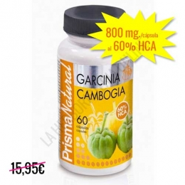 Garcinia Cambogia 800 mg. 60% HCA Prisma Natural 60 cápsulas - La Garcinia Cambogia de Prisma Natural contiene 800 mg. de Garcinia por cápsula al 60% de HCA, una mayor concentración que la mayoría de productos del mercado.