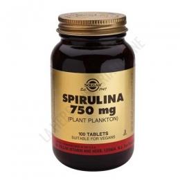 Spirulina 750 mg. Solgar 100 comprimidos - Los comprimidos de Espirulina Solgar contienen 750 mg. de alga Spirulina que aporta a la dieta una rica variedad de aminoácidos, vitaminas y oligoelementos.