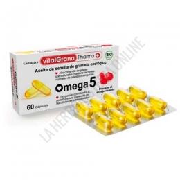 OFERTA Vitalgrana Omega 5 Aceite de Semilla de Granada Ecológico 60 cápsulas - Vitalgrana Omega 5 es un producto natural procedente de la semilla de la granada de cultivo ecológico certificado que actúa como un potente antioxidante natural contra los radicales libres, previniendo el envejecimiento.