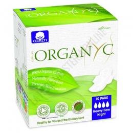 Compresas Noche hipoalergénicas con alas Organyc 100% algodón orgánico regular 10 uds. -