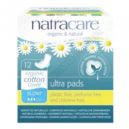 Compresas algodón orgánico super alas Natracare 12 uds. -