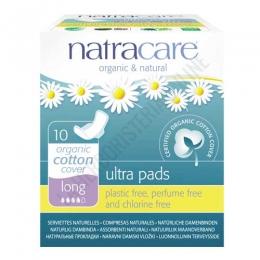 Compresas extra largas con alas algodón orgánico Natracare 10 uds. -