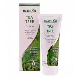 Crema de Árbol del Té Health Aid 75 ml. - La crema de Tea Tree de Health Aid está formulada utilizando el Árbol del té de alta calidad australiano. Se absorbe fácilmente, no es grasa y ayuda a calmar, hidratar y restaurar el brillo y la salud natural de la piel. PRODUCTO DESCATALOGADO POR EL LABORATORIO FABRICANTE.