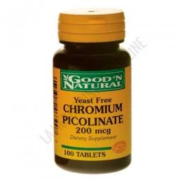 Cromo Picolinato 200 mcg. GoodN Natural 100 comprimidos - El Cromo Picolinato es un mineral esencial que contribuye a mantener unos niveles adecuado de azúcar en sangre.