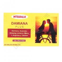 Damiana Plus Integralia 20 viales - Damiana Plus de Integralia es una composición en prácticos viales, a base de Damiana, Guaraná, Ginseng, Maca, Taurina y L-Arginina, muy útil para potenciar las relaciones de pareja.
