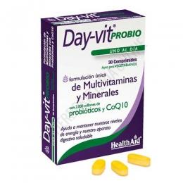 Day-Vit Probio Health Aid 30 comprimidos - Day-Vit® Probio de Health Aid es una formulación única multivitamínica y mineral potenciada con 2000 millones de probióticos y CoQ10, que contribuye a aumentar la energía y a la mejora de la microflora intestinal para promover nuestro bienestar.