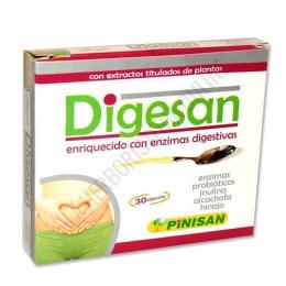 Digesan ayuda digestiva Pinisan 30 cápsulas - Digesan de Pinisan es una completa formulación que actúa como ayuda en caso de digestiones pesadas, hinchazón y malestar después de las comidas. A base de plantas, enzimas digestivas y probióticos.