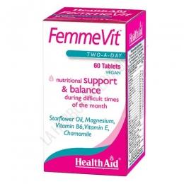 FemmeVit Health Aid comprimidos - Femmevit de Healt Aid es una formulación específica para la mujer que sufre el síndrome premenstrual y contiene todos los elementos clave para ayudar a reducir y aliviar sus síntomas.