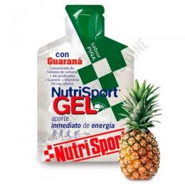 Gel con guaraná Nutrisport sabor piña 40 gr. - Nutrisport Gel con Guaraná asegura un aporte de energía inmediato y prolongado gracias a su mecanismo de absorción sostenida y a la combinación en su fórmula de hidratos de carbono de cadena larga y corta. Además es de acción estimulante (contiene cafeína).
