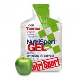 Gel con taurina Nutrisport sabor manzana 40 gr. - Nutrisport Gel con Taurina asegura un aporte de energía inmediato y prolongado gracias a su mecanismo de absorción sostenida y a la combinación en su fórmula de hidratos de carbono de cadena larga y corta.