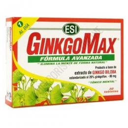 GinkgoMax tónico mental fórmula avanzada Esi 30 comprimidos - GinkgoMax de Esi es una formula potenciada de 1 sóla toma al día que combina el extracto seco y el polvo micronizado de Ginkgo Biloba para aprovechar al máximo los principios de este árbol.