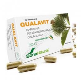 Gualavit 30-C Soria Natural 60 cápsulas - Gualavit de Soria Natural es una composición a base de Calaguala, Bardana y Pensamiento, especialmente útil en caso de afecciones cutáneas y en particular en caso de vitiligo.