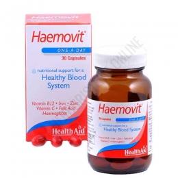 Haemovit Health Aid 30 cápsulas - Haemovit de Health Aid contiene vitaminas y minerales específicos que proporcionan un apoyo nutricional al sistema sanguíneo, ayudando a mantener el desarrollo sano de los glóbulos rojos en la sangre y la circulación del oxígeno en el organismo.