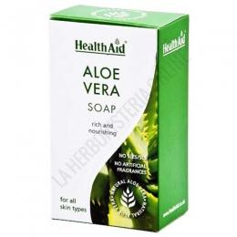 Pastilla de jabón Aloe Vera Health Aid 100 gr. - El jabón natural de Aloe Vera 100% natural de Health Aid no contiene parabenos, sulfatos ni fragancias artificiales. Recomendado por sus propiedades nutritivas, hidratantes y reparadoras de la piel.