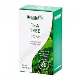 Pastilla de jabón Árbol del Té Health Aid 100 gr. - El jabón natural del Árbol del té Health Aid no contiene parabenos, sulfatos ni fragancias artificiales. Recomendado por sus propiedades antisépticas y antifúngicas.