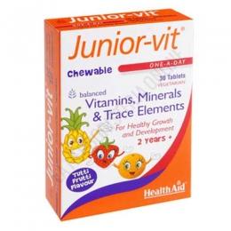 Junior-Vit Health Aid comprimidos - Junior-Vit de Health Aid es una fuente de vitaminas, minerales y oligoelementos necesarios para ayudar al desarrollo y crecimiento sano de niños y niñas, en cómodos comprimidos masticabes sabor tutti frutti.