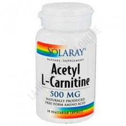 Acetyl L-Carnitina 500 mg. Solaray en forma libre 30 cápsulas vegetales - L-Acetyl L-Carnitine de Solaray contiene 500 mg. de Acetil L-Carnitina por cápsula en forma libre para maximizar su absorción.